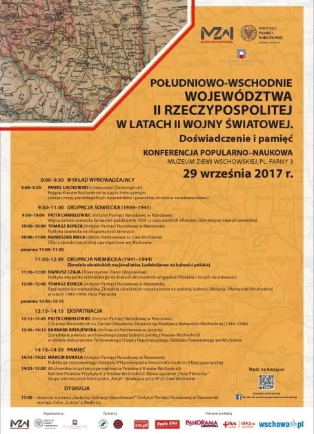 plan konferencji z mapą Kresów Wschodnich
