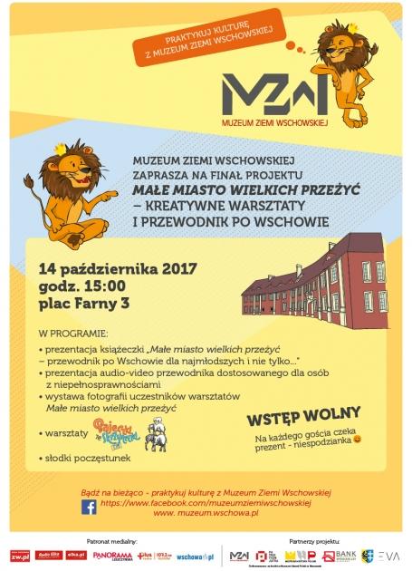 plakat z programem w tle grafika lwa i siedziba muzeum