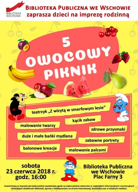 plakat z owocami i smerfami