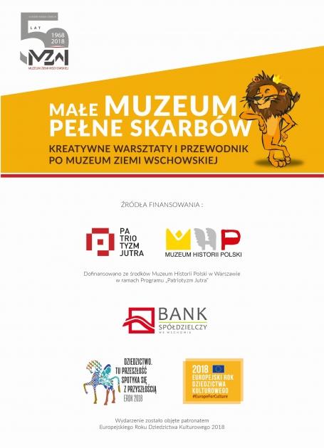 plakat z grafikami lwa i partnerów