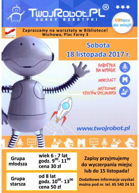 plakat z programem z grafiką robota