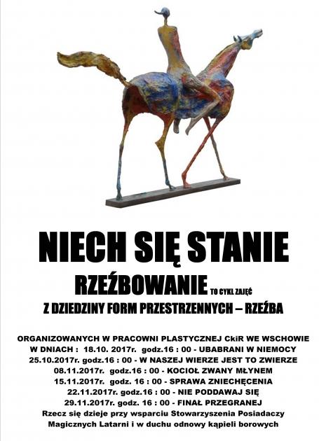 plakat z terminarzem spotkań i grafiką rzeźby