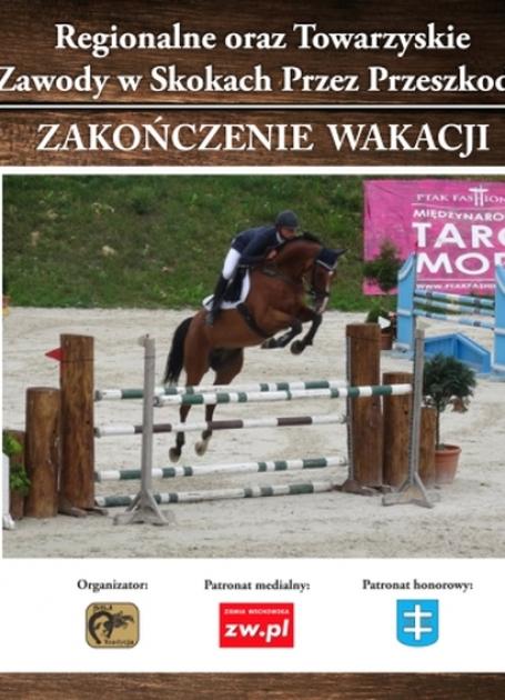 plakat informujący o wydarzeniu na pierwszym planie koń skaczący przez przeszkody