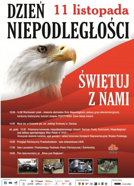 plakat z programem, po lewej orzełna tle flagi polski