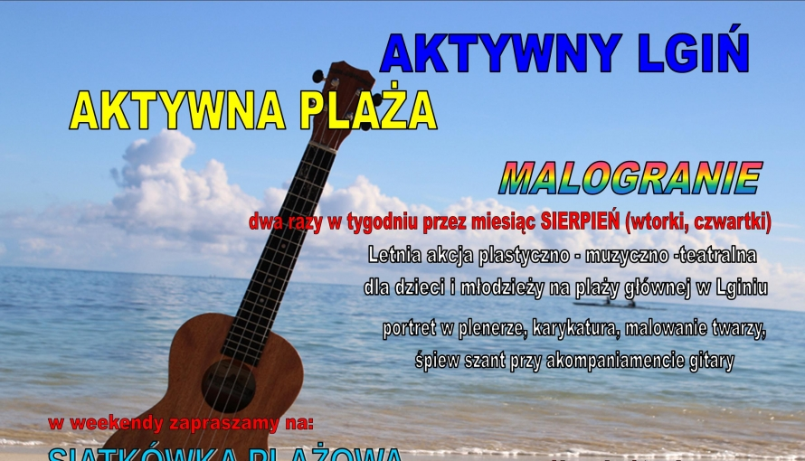 plakat z gitarą i plażą w tle