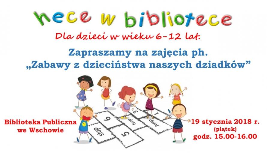 plakat informacyjny z grafiką dzieci grających w klasy