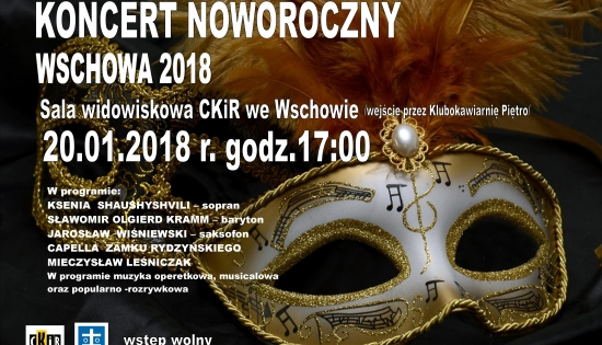 plakat informacyjny z maską karnawałową