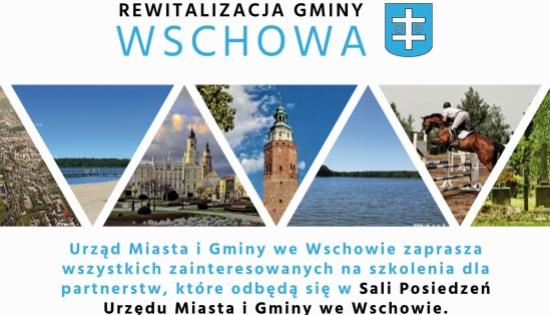 plakat z rospisanym szkoleniem i zdjęciami Wschowy