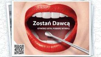 napis zostań dawcą z grafiką jamy ustnej i wymazówki