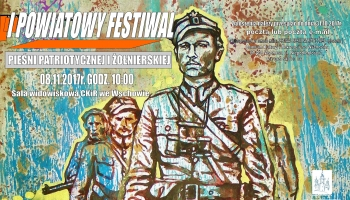 plakat z grafiką żołnierzy