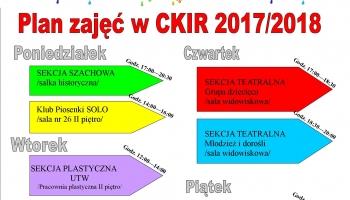 plan zajęć CKiR rozpisany na tygodnie i godziny w graficzne kolorowe strzałki
