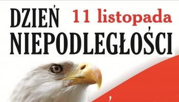 plakat z programem po lewej stronie orzeł na tle flagi Polski