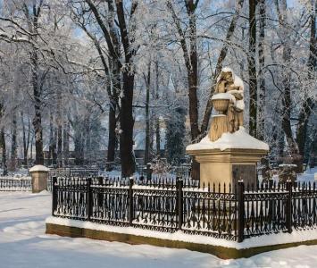 figura kobiety otoczona ozdobnym płotem z leżącym wkoło śniegiem