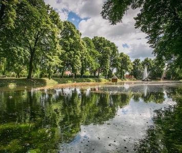 staw z drzewami na brzegach oraz fontanną na środku